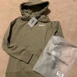 Gymshark crest hoodie in washed khaki size small